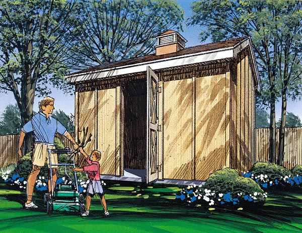 Gable Storage Shed with Cupola  - Project Plan 85911