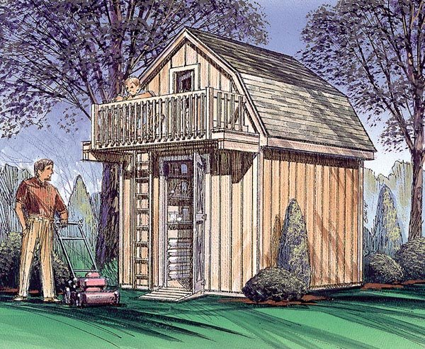 Storage Shed with Playhouse Loft