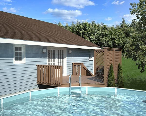 Easy Pool Deck W Privacy Screen Plan 90004