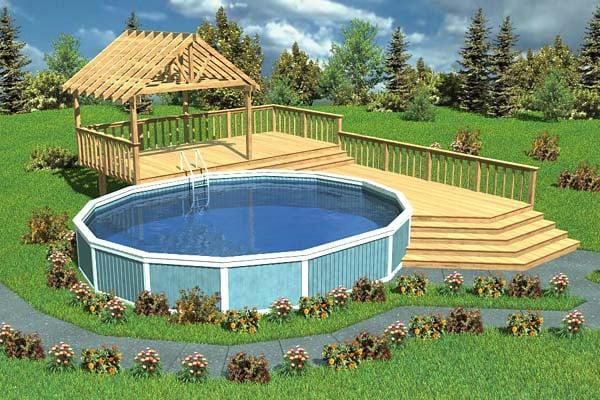 Luxury Split-Level Pool Deck With Trellis - Project Plan 90005