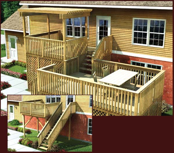 Project plan 90006 modular split level deck for House plans with decks