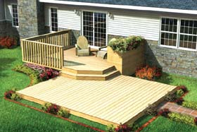 Split Level Patio Deck w/ Planter - Project Plan 90009