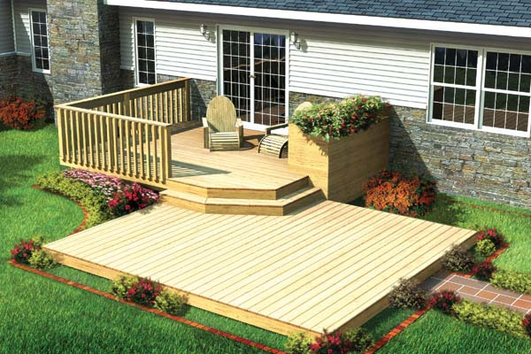 Project plan 90009 split level patio deck w planter for Split level garden decking