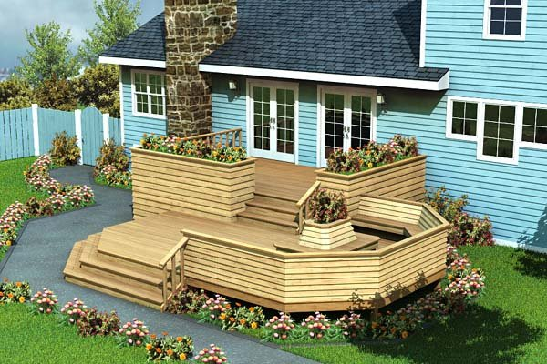 Project plan 90010 luxury split level deck for Small house deck designs