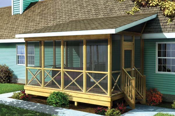 Screened Porch W Shed Roof Project Plan 90012