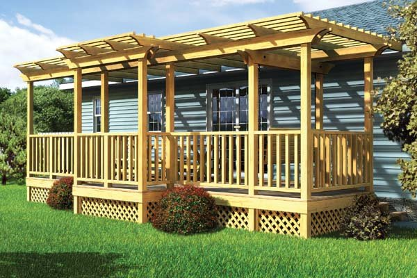 90016 - Parallel Porch Deck w/ Trellis and Porch Swing