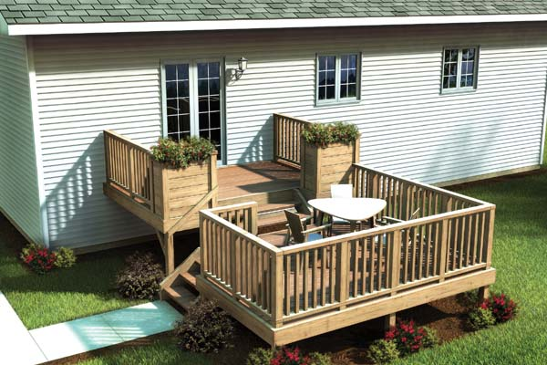 Two level deck on pinterest decks deck plans and deck for Split level project homes