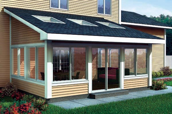 Project plan 90021 shed roof sun room addition for two for House plans with sunroom