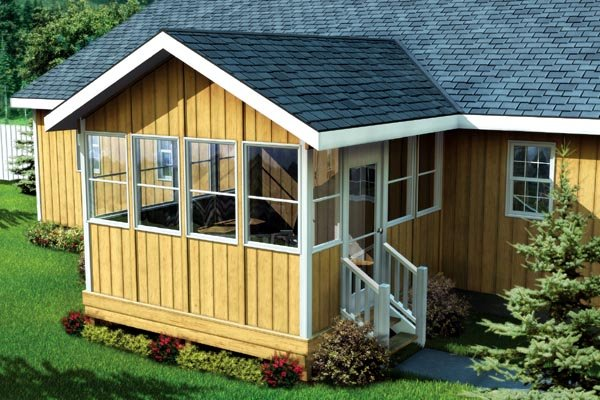 Three Season Porch With Gable Roof Project Plan 90034