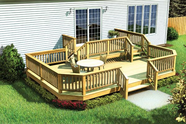 Project plan 90042 two level deck w angle corners for House plans with decks