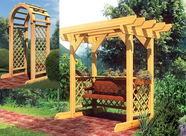 project plan 90043 swing and arched arbor. Black Bedroom Furniture Sets. Home Design Ideas